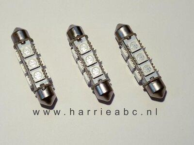 uis lampje 6 volt 20 watt 42 mm 12 ledjes in het warm wit ( BUIS.42.20.WW.03)
