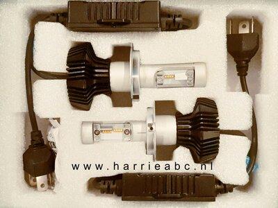 H4 LED koplamp 80 watt 12 volt warm wit . (12.H4.160.83)