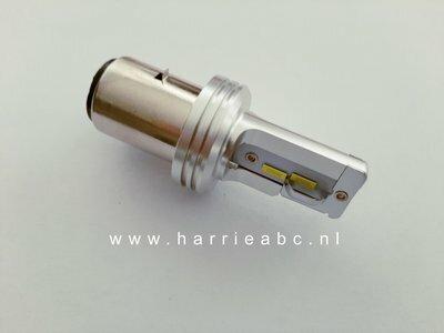 BA20D LED LAMP 40 WATT 12 VOLT IN KLEUR GEEL (GOUD) MET ORIGINEEL KOPLAMP BEELD.