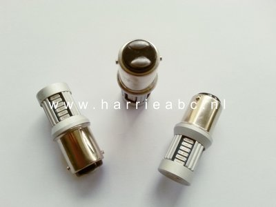 Led lamp BA15D 30 SMD leds 6 volt DC massa - (18/5 watt) in wit en rood