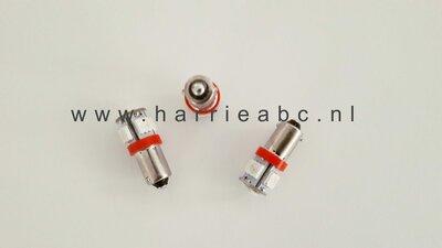 BA9S 6 volt 5 leds 5 watt bi-polariteit in rood. (BA9S.05.HD.OR.01)