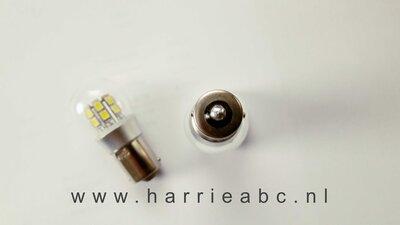 BA15S led 6 volt gelijkstroom (DC) 21 watt massa negatief 18  ledjes diverse kleuren. (BA15S.18.21.OO.41)