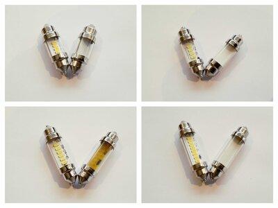 Buis lampje 6 volt 36 mm 10 watt in wit en warm wit. (BUIS.36.10.OO.41)