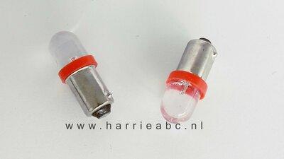 Led BA9S 6 volt DC gelijkstroom  (2 watt) massa negatief rood. (BA9S.02.OR.00)