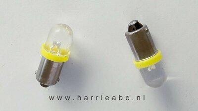 Led BA9S 6 volt DC gelijkstroom (2 watt) massa negatief amber. (BA9S.02.OA.00)