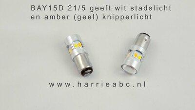 BAY15D 30 SMD leds 6 volt kleur warm wit / Amber DC bi-polariteit (21/10 watt). ( BAY15D.10/21.10.30.WWA.03 )
