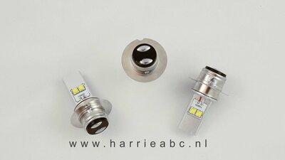 Led P36D (P22D) (BPF)met groot en dimlicht DC 6 en 12 volt systemen in Wit 800-1600 lum 40 watt  ( massa Positief ) (P36D/40/OW/10/POS)
