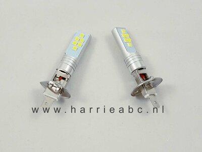 H1 LED lamp 12 volt of voor 6 volt met omvormer 35 watt kleur wit ( 12.H1.35.OW.86 )