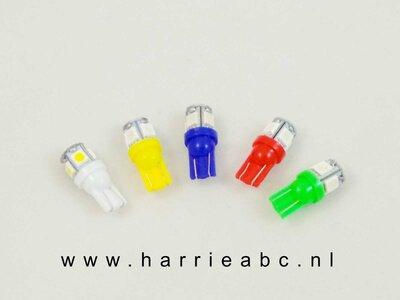 T10 LED 6 en 12 volt in diverse kleuren DC. (6/12.T10.05.OO.61)